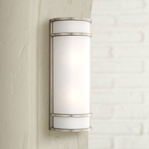 "Bay View 20"" High Brushed Steel Outdoor Pocket Light"
