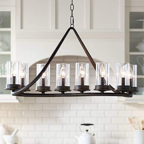 "Heritage 44"" Wide Bronze and Glass Chandelier"