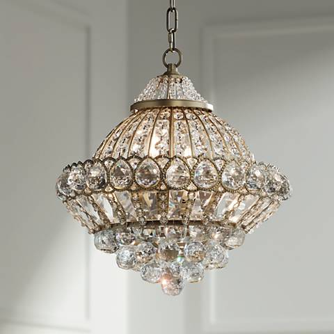 "Wallingford 16"" Wide Antique Brass and Crystal Chandelier"