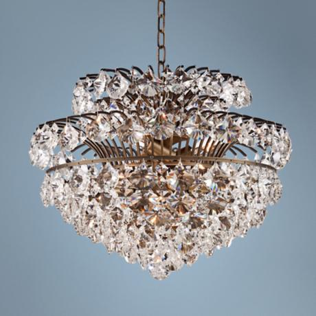 "Langley 19"" Wide Antique Brass and Crystal Chandelier"