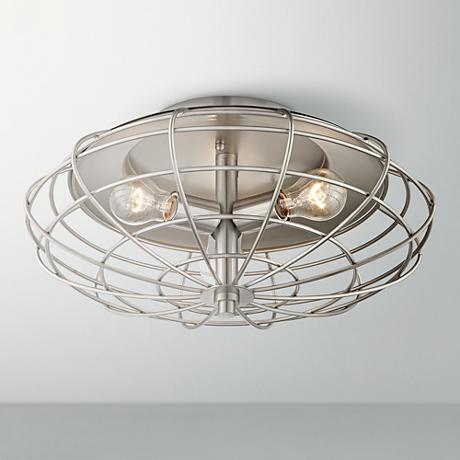 "Industrial Cage Nickel 8 1/2"" High Ceiling Light Fixture"