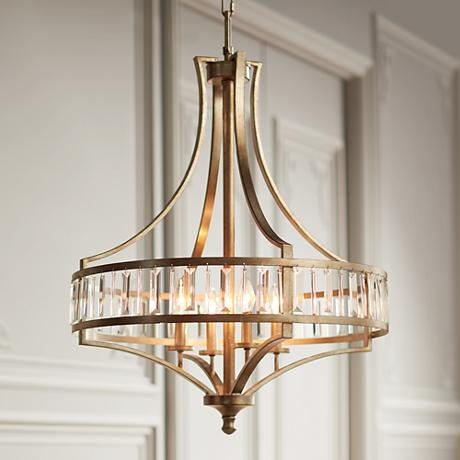 "Soft Silver 4-Light 24"" Wide Crystal Chandelier"