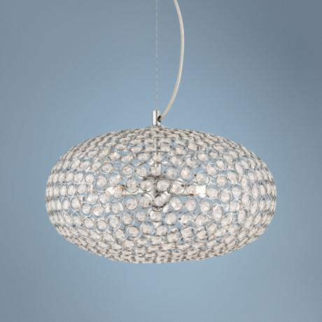 "Possini Euro Celestia Chrome 16"" Wide Round Crystal Pendant"