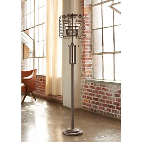 cage 65 high metal floor lamp with edison bulbs w7387 lamps plus. Black Bedroom Furniture Sets. Home Design Ideas