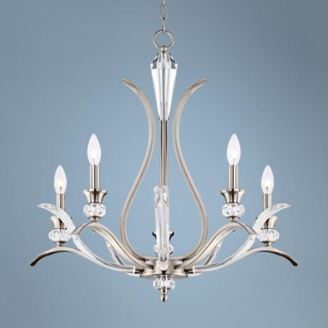 "Sutton 26"" Wide Brushed Nickel and Glass Chandelier"