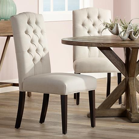 Set of 2 Natural Linen Button Tufted Dining Chairs