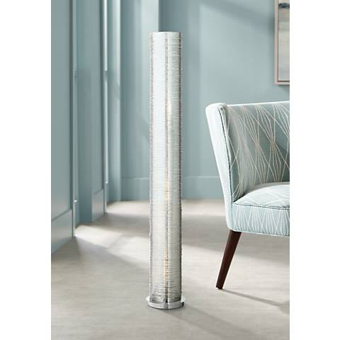 "Gossamer Clear Spun Acrylic 52"" High Cylinder Floor Lamp"