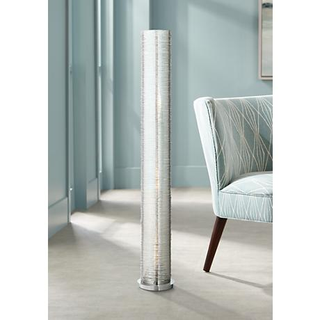 Gossamer clear spun acrylic cylinder floor lamp w7444 for Paper cylinder floor lamp