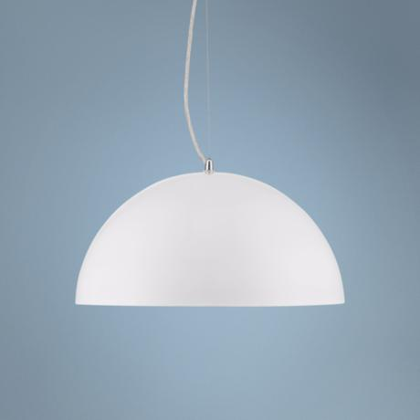 "Possini Euro White Metal 15 3/4"" Wide Dome Pendant Light"