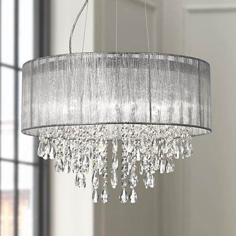 "Possini Euro Metairie 20""W Silver Fabric Crystal Chandelier"