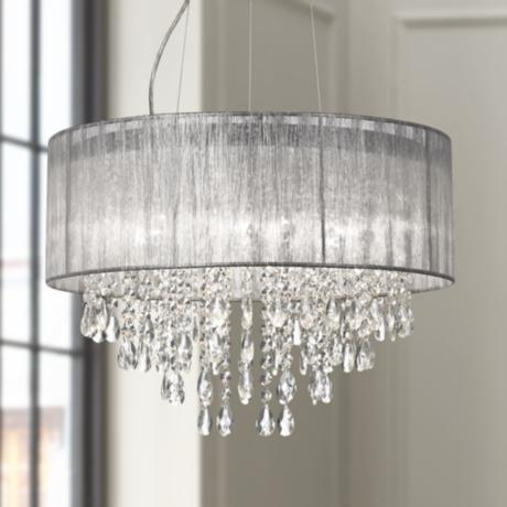 "Metairie 20"" Wide Silver Fabric Crystal Chandelier"