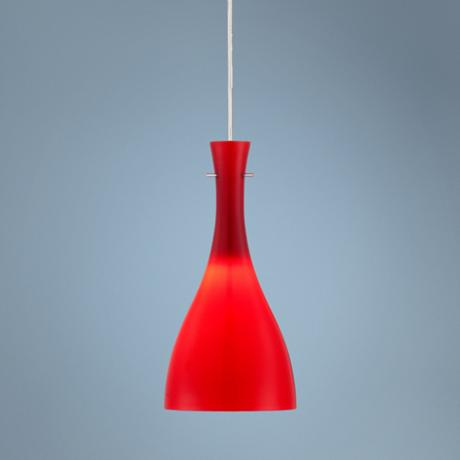 "Vermelho 5 3/4"" Wide Red Glass LED Mini Pendant"