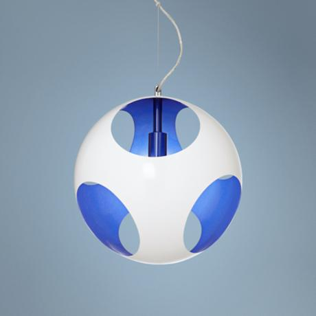 Possini Euro Design Circulo White and Blue Pendant Light
