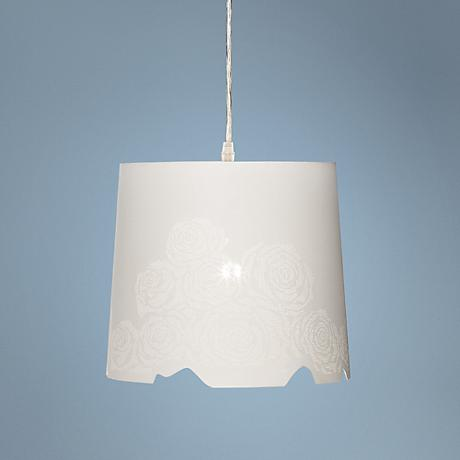 "Isis Cut-Out Rose 11"" Wide Matte White Pendant Light"