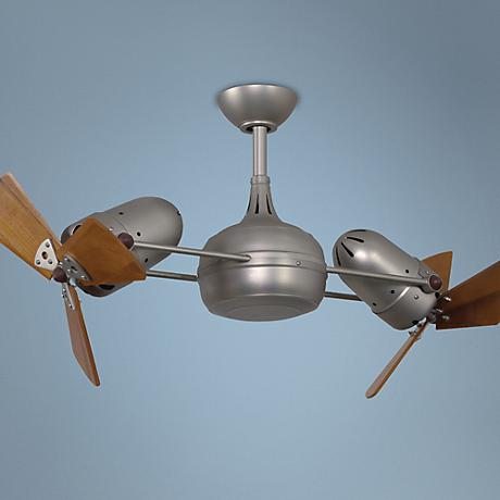 "41"" Matthews Dagny Nickel and Mahogany Dual Ceiling Fan"