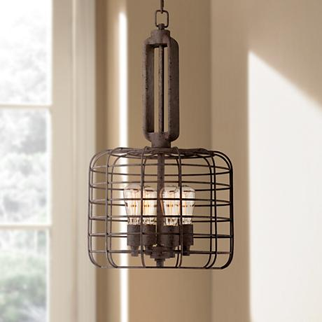 "Industrial Cage 14 1/2"" Wide Rust Metal Pendant Light"