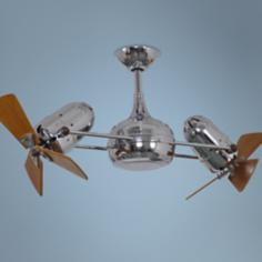 "38"" Matthews Dagny Chrome and Mahogany Dual Ceiling Fan"