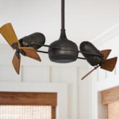 "38"" Matthews Dagny Bronze and Mahogany Dual Ceiling Fan"