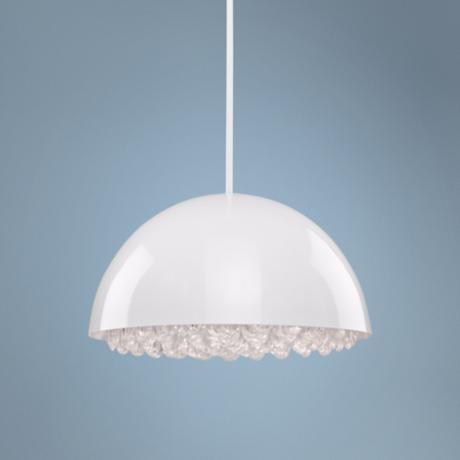 "Artcraft Horizon Half Sphere 17"" Wide White Pendant Light"