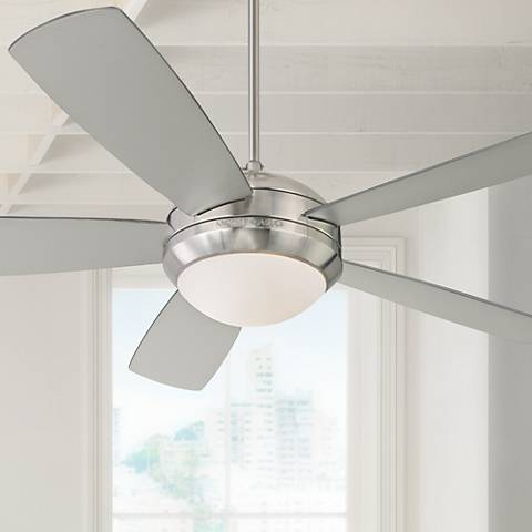 "52"" Monte Carlo Discus Brushed Steel Ceiling Fan"