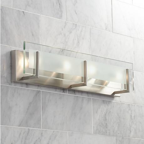 Hinkley latitude 26 wide brushed nickel vanity light for Hinkley bathroom vanity lighting