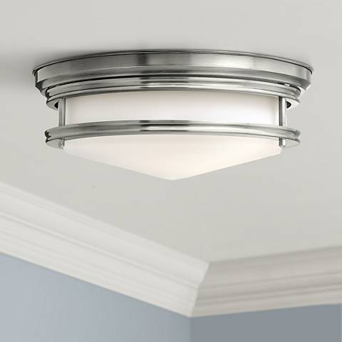 "Hinkley Hadley 14"" Wide Antique Nickel Ceiling Light"