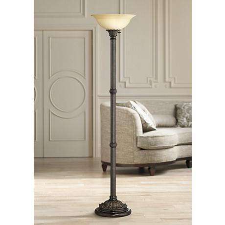 Bellham Bronze Traditional Torchiere Floor Lamp W9579
