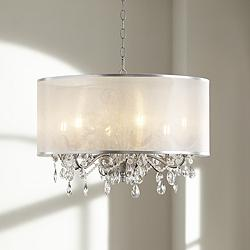 "Possini Euro Farina 23"" Wide Organza Silver Pendant Light"