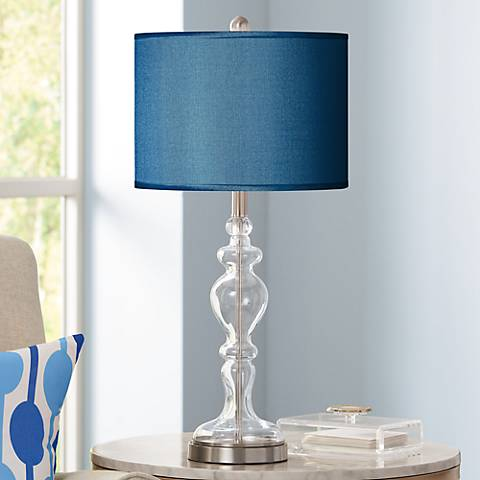 Blue Faux Silk Apothecary Clear Glass Table Lamp