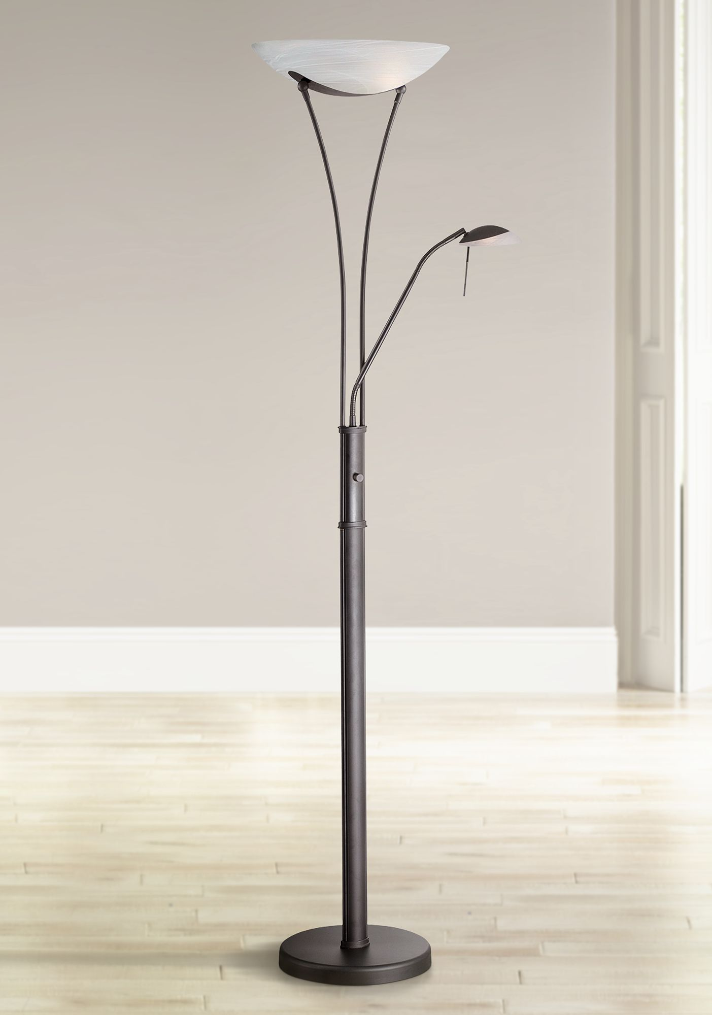 Lite Source Avington Black Reading Light Torchiere Lamp - #W9898 ...