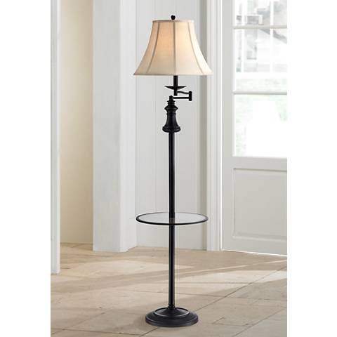 Lite source brandice swing arm floor lamp with table tray for Swing arm floor lamp with glass tray table