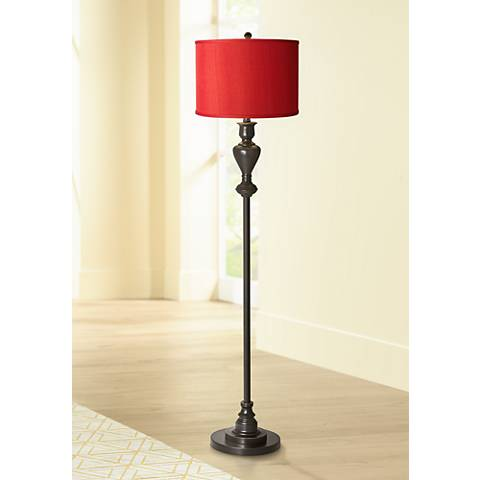 China Red Textured Silk Black Bronze Floor Lamp