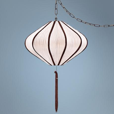 "Song Ivory 19"" Wide Swag Style Plug-In Chandelier"