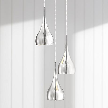 "Possini Euro Raindrop 6 1/4"" Wide Chrome Multi Light Pendant"