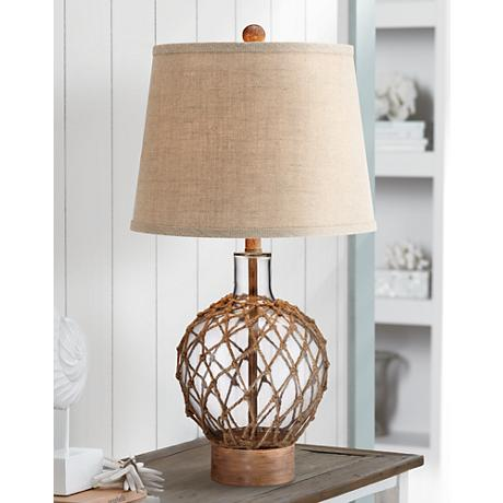 Rope and Glass Jug Table Lamp