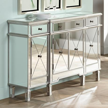 "Hailey 60"" Wide Silver and Mirrored 4-Door Console Chest"