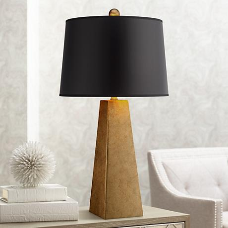 Possini Euro Design Gold Leaf Obelisk Table Lamp X1595