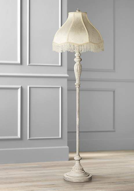 Cream Scallop Vintage Chic Antique White Floor Lamp With Fringe
