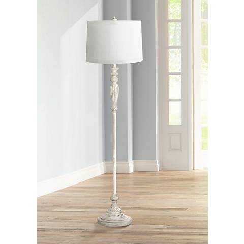 White Drum Shade Vintage Chic Antique White Floor Lamp