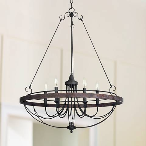 "Helena Bronze 6-Light 28"" Wide Forged Iron Chandelier"