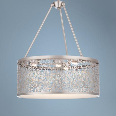 "Forecast Brocade LED 20"" Laser Cut Nickel Pendant Light"