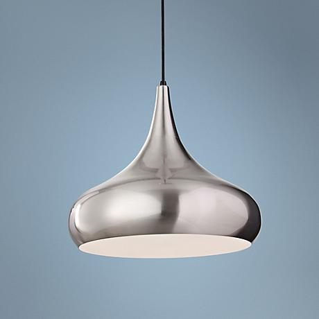 "Feiss Beso 18"" Wide Brushed Steel Pendant Light"