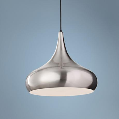 "Murray Feiss Beso 18"" Wide Brushed Steel Pendant Light"