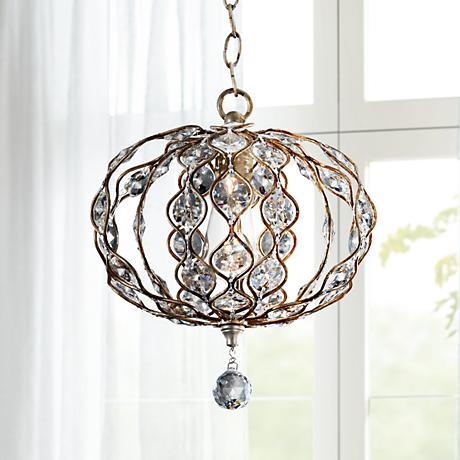 "Feiss Leila 12 3/4"" Wide Burnished Silver Pendant"