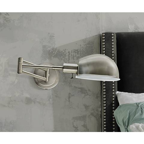 House of Troy Addison Satin Nickel Swing Arm Wall Lamp