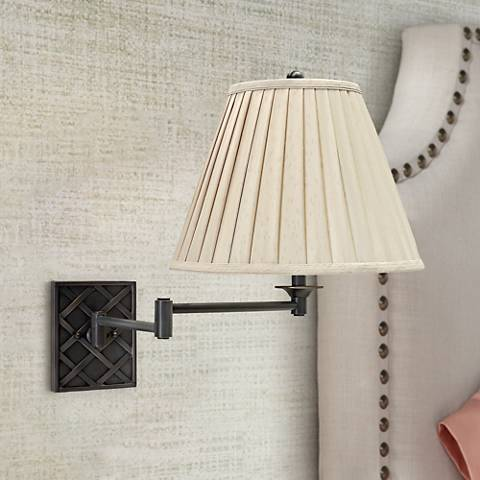 House of Troy Deco Basket Bronze Swing Arm Wall Lamp