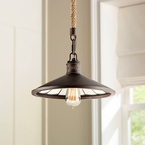 "Brooklyn Bronze 12"" Wide Hand-Worked Iron Pendant Light"
