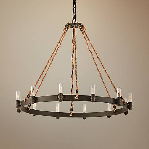 "Pike Place 32"" Wide Rope and Wrought Iron Chandelier"