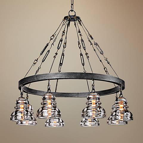 "Menlo Park 32 3/4"" Wide Iron and Brass Chandelier"