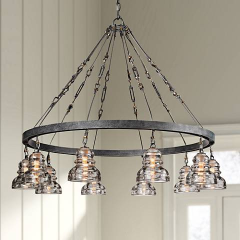"Menlo Park 42 1/2"" Wide Iron and Brass Chandelier"